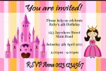 Personalised Candy Stripe Princess Invitation